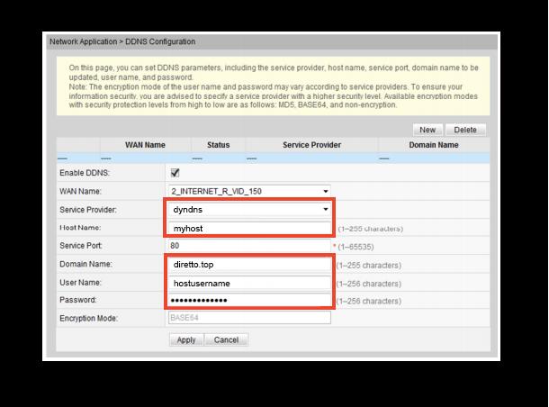 Configurazione dynDNS.it per Huawei - dynDNS.it - DNS dinamico gratuito