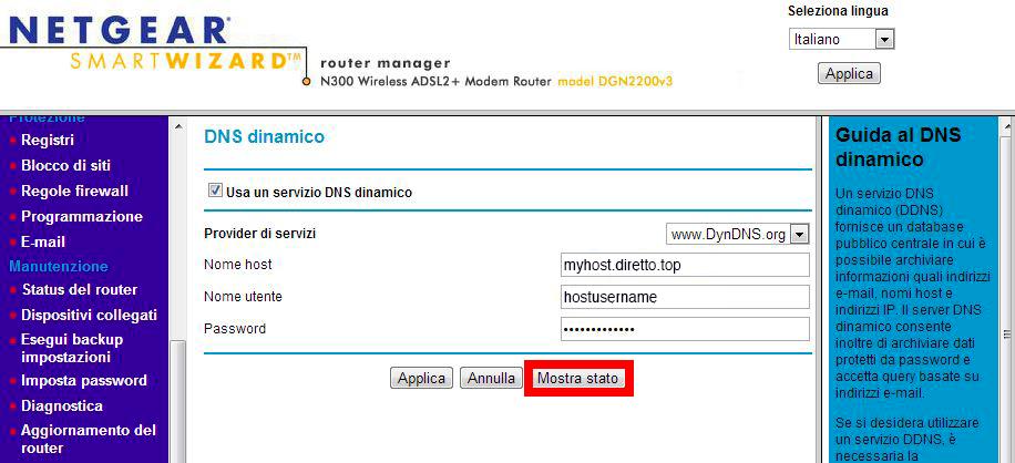 Configurazione dynDNS.it per Netgear con host .org nativo - dynDNS.it - DNS dinamico gratuito